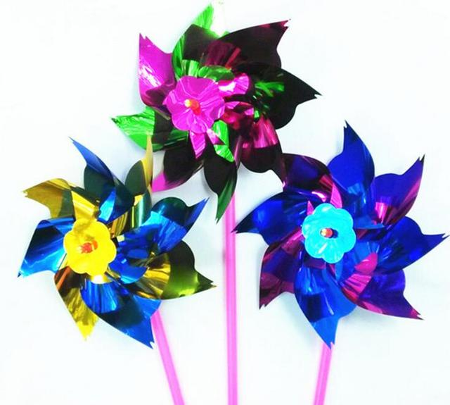 100 PCS/small Windmill Windmill DIY Garden Colorful Wind Turbines 15 * 36.5  * 0.8