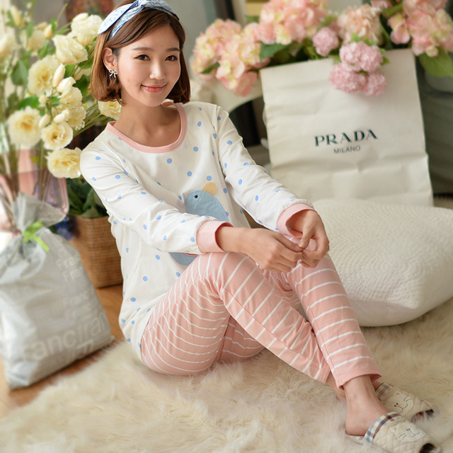 4af351cb2f79c 2017 Spring and Autumn new Maternity clothes cotton printed pajamas maternity  clothing postpartum fashion home clothing