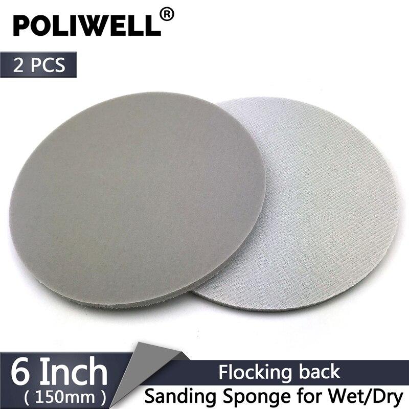 POLIWELL 2PCS 6 Inch 150mm Flocking Sponge Sanding Disc Grit 150~2000 Wet And Dry Sandpaper For Sander Power Tools Accessories