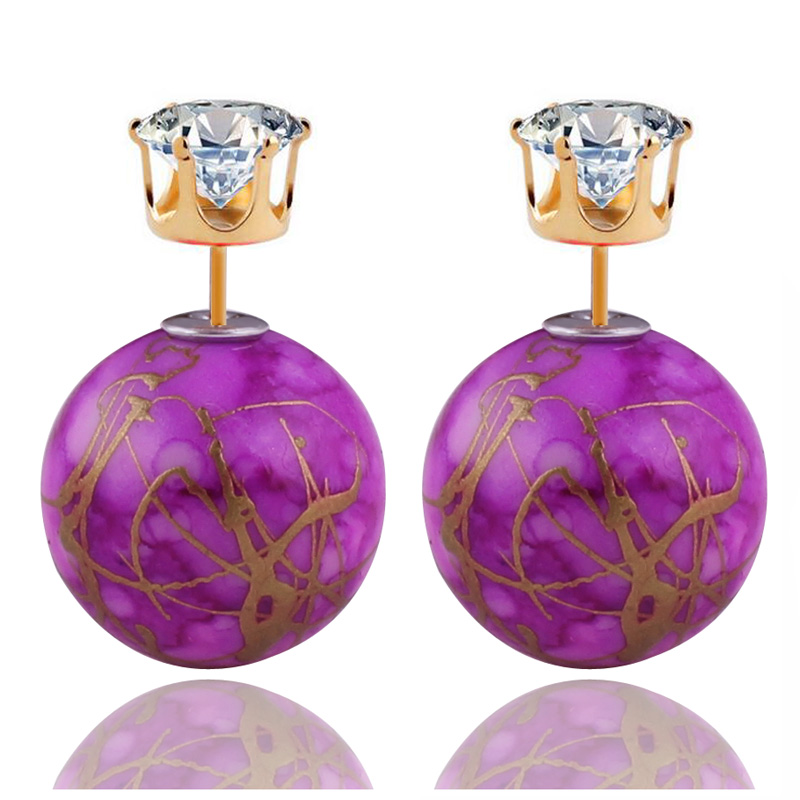 New Arrival Colorful Double Sides Pearl Earrings Classic Stringy Gold Big Ball Pattern Crown Crystal Stud