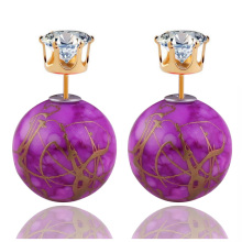 New Arrival Colorful Double Sides Pearl Earrings Classic Stringy Gold Big Ball Pattern Crown Crystal Stud Earrings For Women