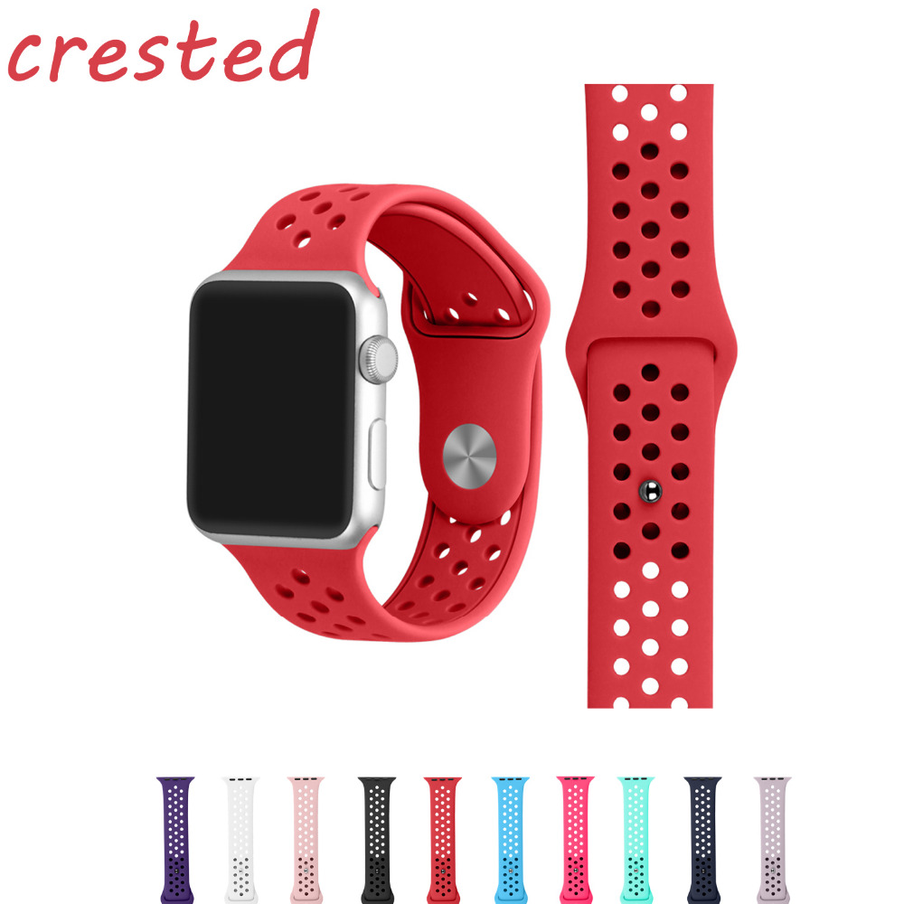 все цены на  CRESTED sport silicone strap for apple watch 42mm/38 rubber watch band strap for iwatch 1/2 Replaceable bracelet for watches  онлайн