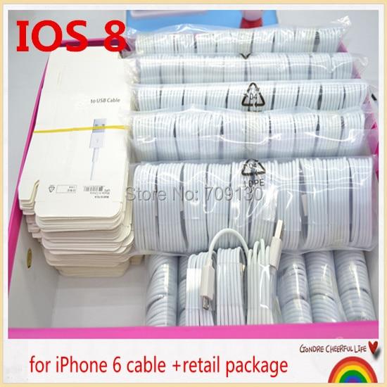 imágenes para Para IOS 10 100 Unidades (100 unids cable y 100 unids empaquetado Al Por Menor)/para iphone 7 6 6 plus 5S 5c cable, cable del cargador del usb para iphone5s 5c