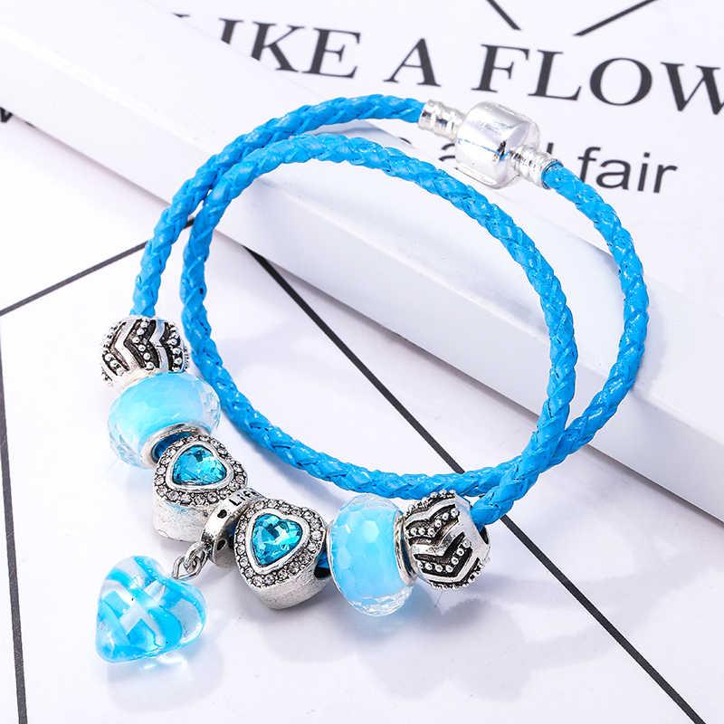 BAOPON роскошный браслет из голубых кристаллов Свадебный кожаный брендовый браслет Подвеска-кристалл в форме сердца браслеты для женские Украшения, браслеты