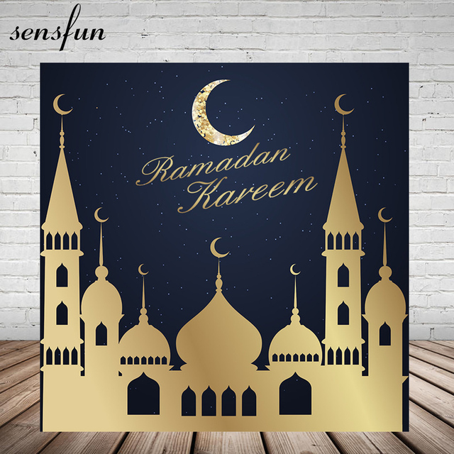 Sensfun Ramadan Kareem Eid Mubarak Backdrop Gold Islam Building Glittler Moon Backgrounds For Photo Studio Vinyl