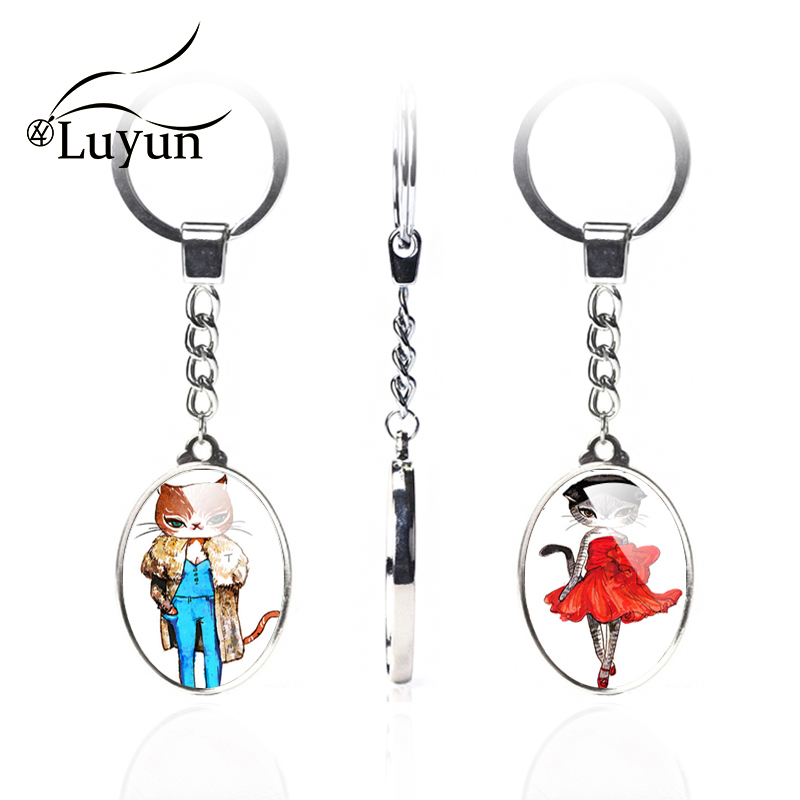 Luyun Cute Cat Pattern Double Keychain Oval Crystal Glass Couple Wholesale
