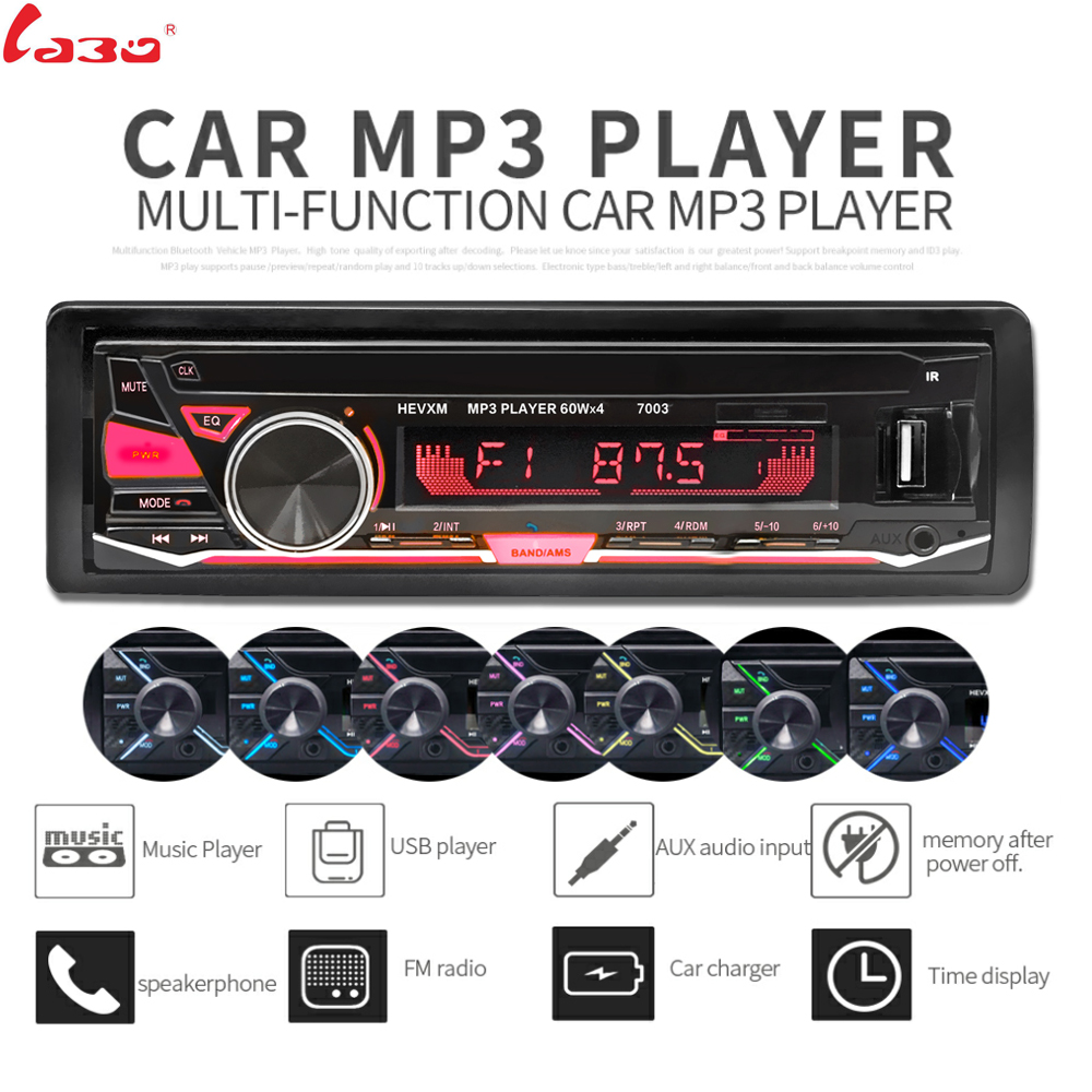 LaBo 12V Bluetooth3.0+ EDR Vehicle Electronics In-dash MP3 Audio Player Car Stereo FM Radio with USB/SD/MMC/TF Card Port image