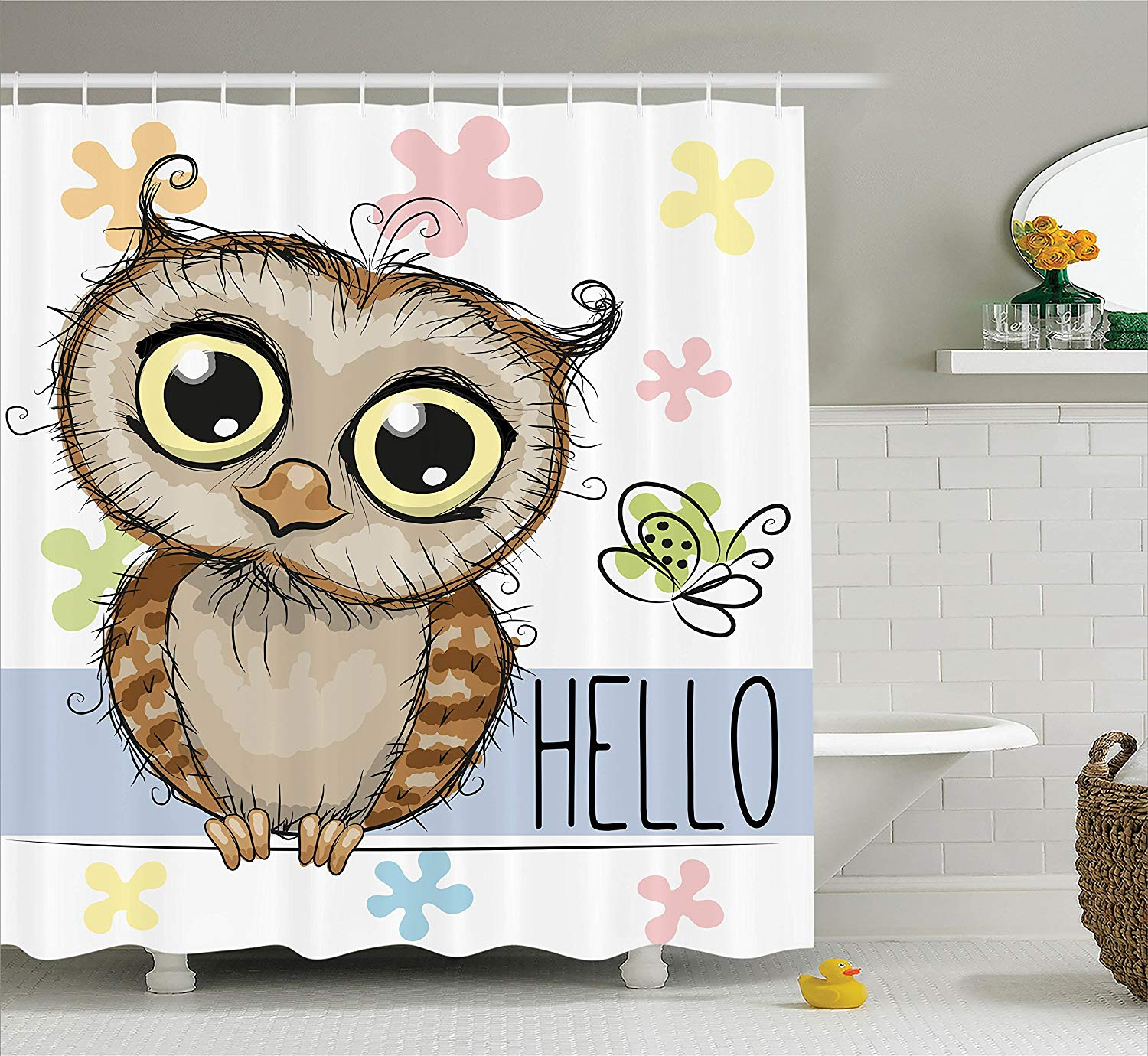 Us 12 8 44 Off Owl Shower Curtain Decor Cartoon Animal Butterfly On Floral Background With Hello Message Colorful Daisies Print Fabric Bathroom In