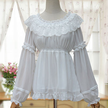 3 colors New Spring Summer Women Chiffon Lolita Blouse Tops Female Lace flounce Victorian Casual Bottoming Shirt tie neck flounce blouse