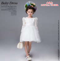 Best Quality baby girl wedding dress 2016 autumn Top Quality Girls white chiffon big bow lace dresses elegant girl dress,2 11Y