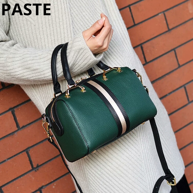 Women Fashion Soft Genuine Leather Handbag Luxury Lichi Pattern Female Casual Solid Boston Shoulder Bag Classic striped Tote bag