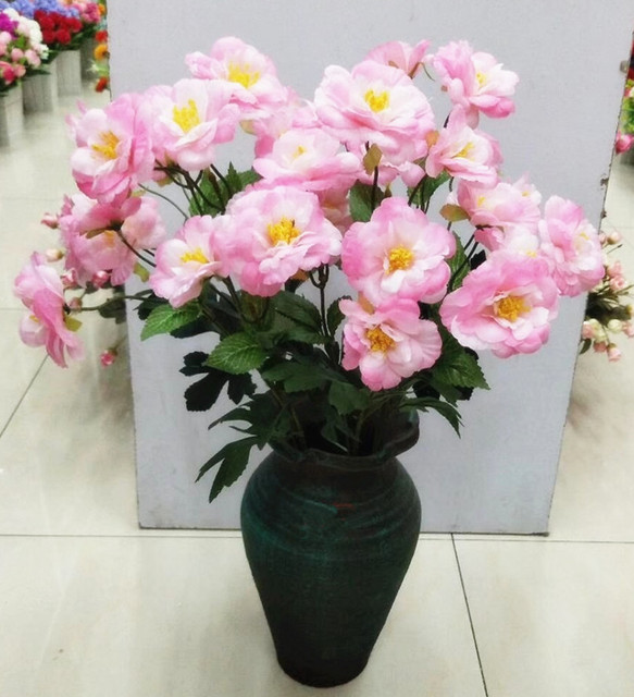 one Silk Rose Flower Stem Simulation Chinese Rose pink/white/blue 5 Color for Wedding Centerpieces Decorative Artificial Flowers