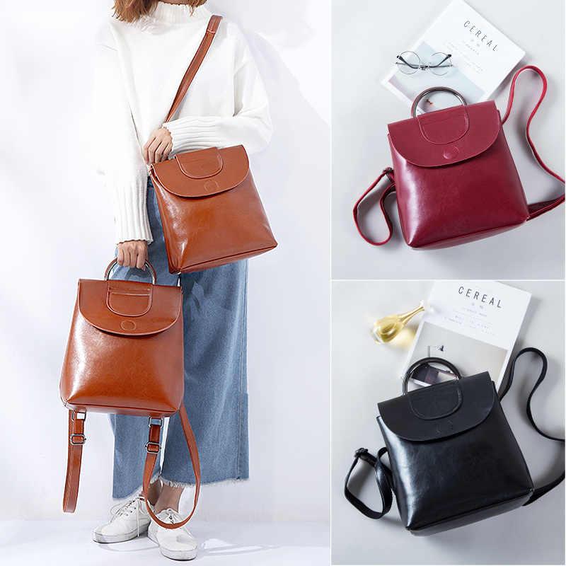 Настоящий рюкзак из яловой кожи женский модный женский рюкзак кошелек большой емкости масло воск школьная сумка Mochila Feminina