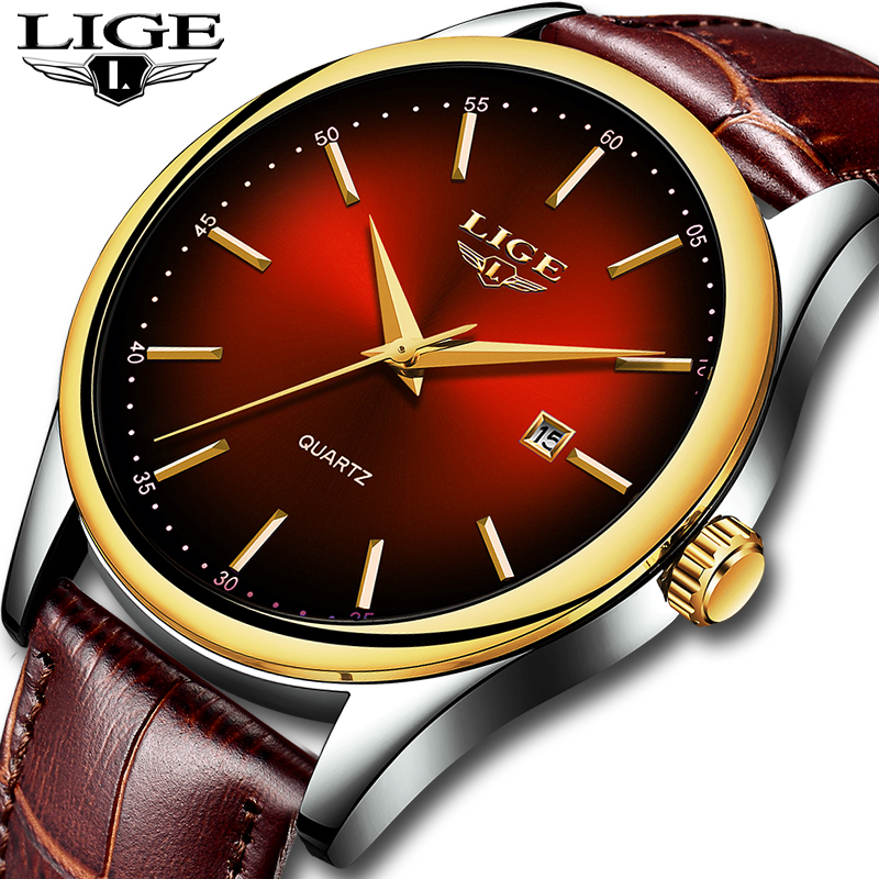 <font><b>LIGE</b></font> Hot Fashion Men's Quartz Auto Date Wristwatch Brand Waterproof Leather Watches Mens Casual Rose Gold Watch For Men 2019 NEW image