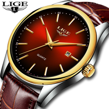 LIGE Hot Fashion Men's Quartz Auto Date Wristwatch Brand Waterproof Leather Watches Mens Casual Rose Gold Watch For Men 2019 NEW