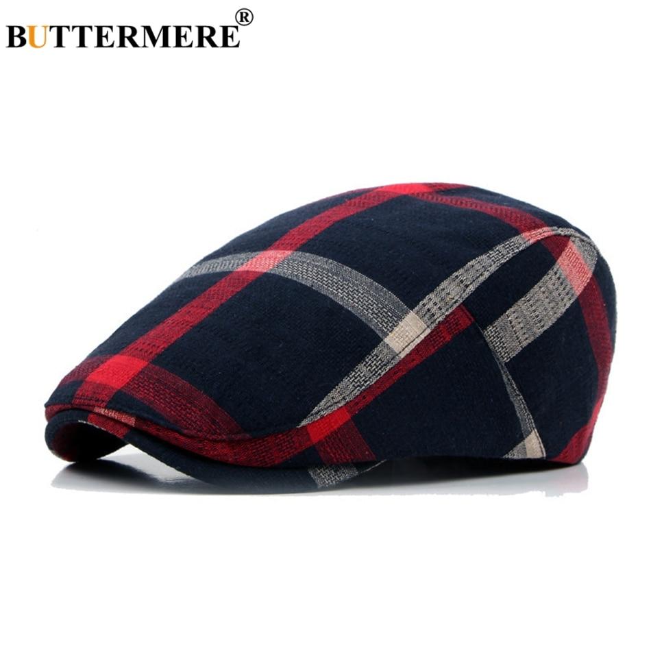 BUTTERMERE Cap Beret-Hats Flat-Caps Male Summer Spring Linen Tartan Plaid Duckbill British