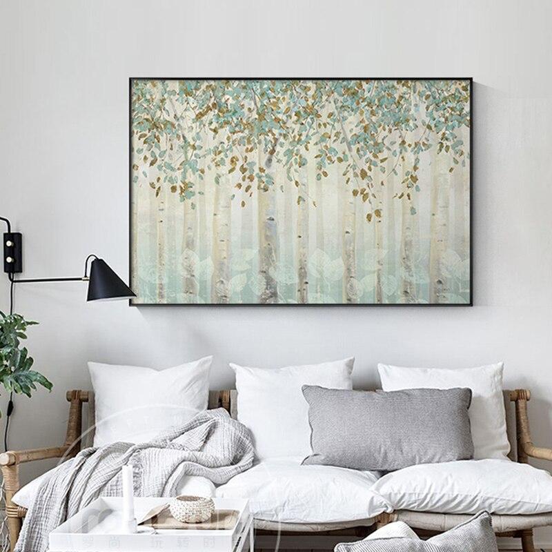 Abstracto nostálgico bosque de otoño pintura de La lona de moda Póster Artístico n imprimir arte de La pared para sala de estudio La imagen Decoración