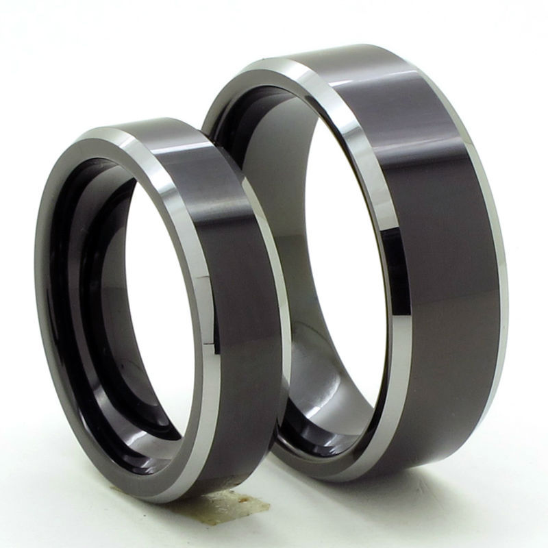 tailor made 8mm 6mm tow tone black matching tungsten bevel ring set size 4 18 cnr05sb - Tungsten Wedding Ring Sets