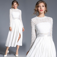 Fashion Streetwear Women's White Pleated Dress Floral Lace crochet Cocktail Party Swing Dress