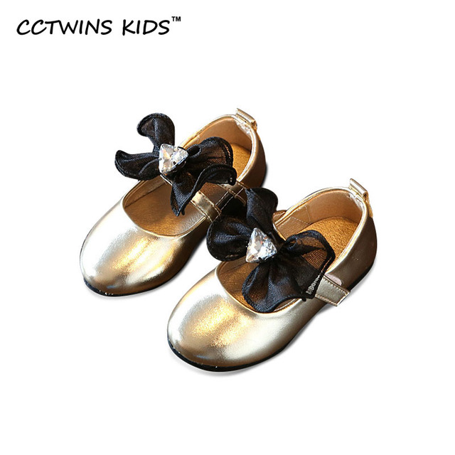 CCTWINS KIDS 2017 Spring Gold Rhinestones flat Bow Party Baby Girl Shoe Child Toddler Fashion Kid Brand Mary Jane Flat G1036