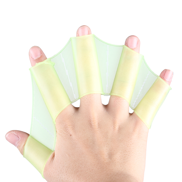 1 Pair Soft Silicone Hand Swimming Fins Flippers Frog Hand Swim Web Webbed Glove Flippers Training Paddle Size S For Child