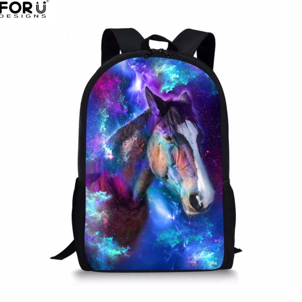 FORUDESIGNS Kids Boys 3D Galaxy School Bags Crazy Horse Printed Children Book Bags for School Teenagers Student Schoolbags Bolsa