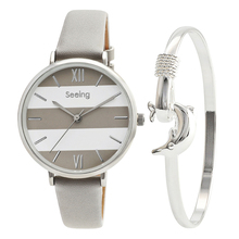 Chic style Lady Watch European Design for Women Leather Strap Unique Style Silver Dolphin Bracelet Gift Set недорого