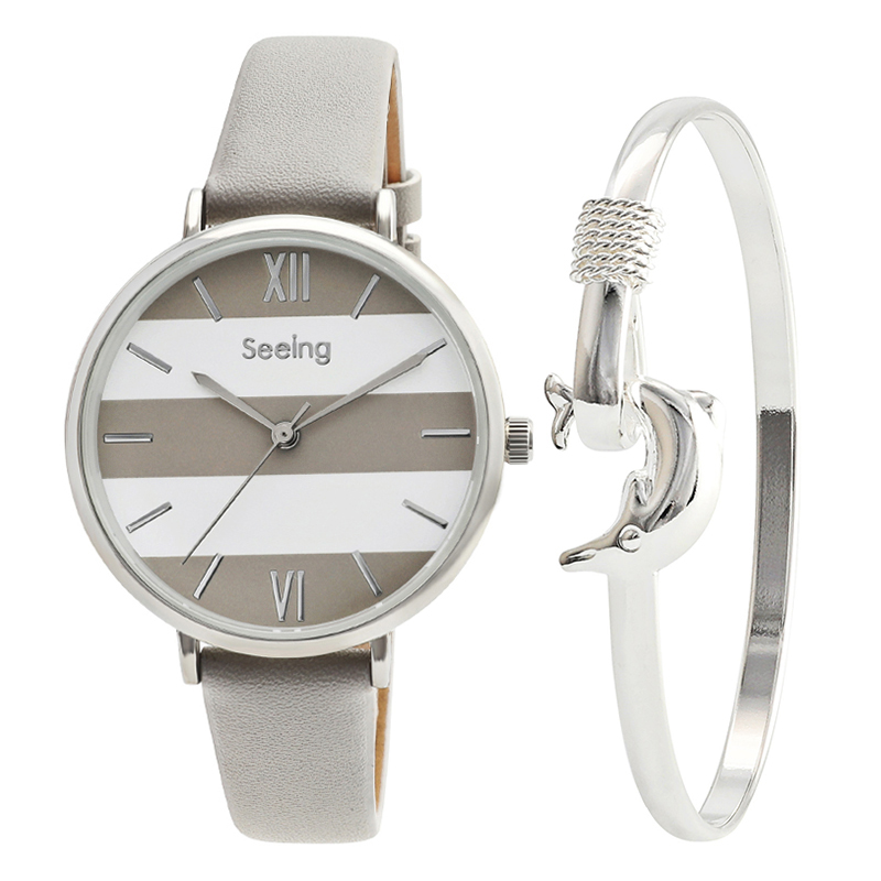 chic style lady watch popular fashion european design for women leather watch unique style with silver dolphin bracelet girlschic style lady watch popular fashion european design for women leather watch unique style with silver dolphin bracelet girls