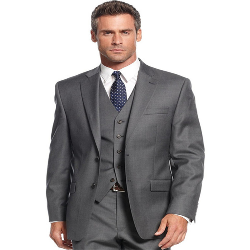 Dark Grey Single Breasted Mens Suits 3 Pieces Wedding Suits for Men Groom Tuxedos Business Formal Suit (Jacket+Pants+vest+tie)