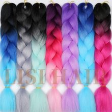 LISI HAIR 24inch Ombre Kanekalon Jumbo Synthetic Braiding Hair Crochet Blonde Blue Hair Extension Jumbo Braids Hairstyles(China)