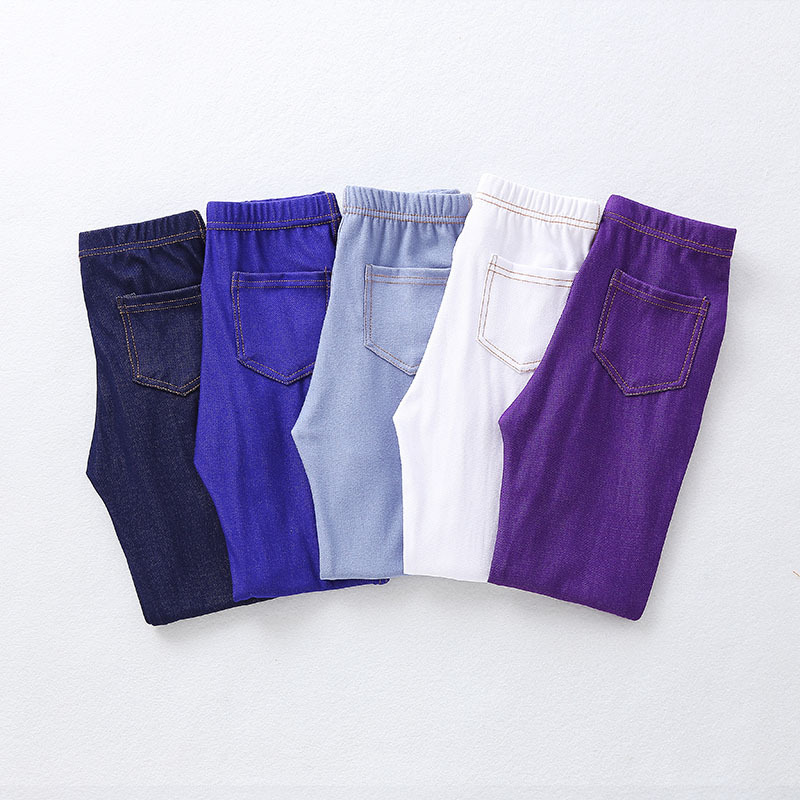 Spring Summer Girls Elastic Skinny Pants Solid Color Kids Stretch Trousers 3-12Yrs Children Lmitation Denim Fabric Jeans Pants 5