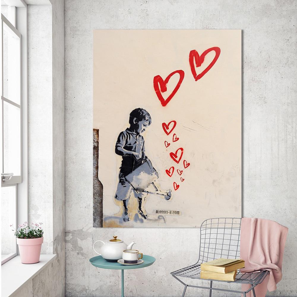 Graffiti art home decor - Qk Art Graffiti Picture Canvas Art Office Home Decor Banksy Street Art Watering The Heart Wall