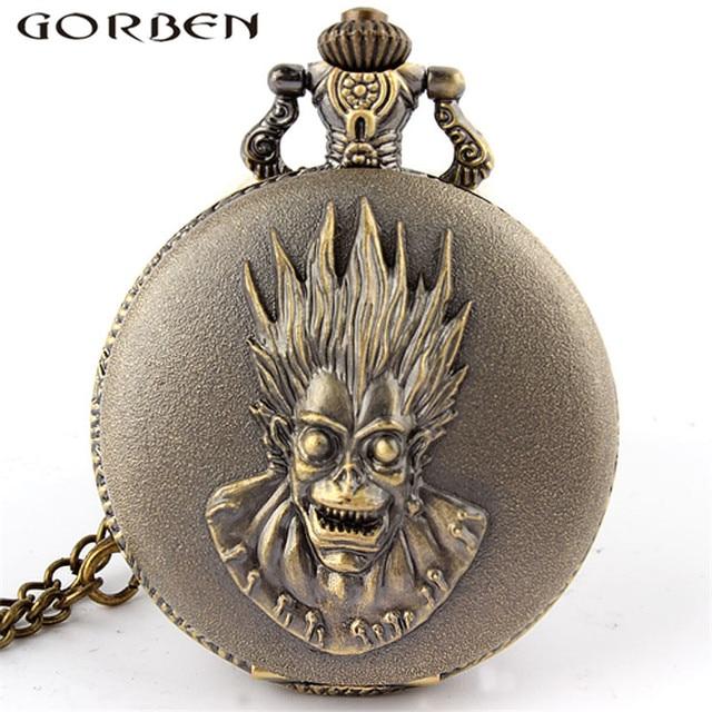 Bronze Grim Reaper Theme Pocket Watch Dial Round Steampunk Necklace Men Women Qu