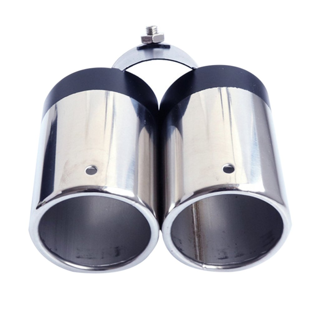 Car Modified Exhaust Pipe Double Hole Exhaust Pipe Tail Throat Muffler Interface 6.3Cm Length 18CM Adapter