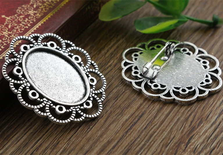 3pcs 18x25mm Inner Size Antique Silver Brooch Pin Classic Style Cameo Cabochon Base Setting (C2-05) 2pcs 20mm inner size antique silver and antique bronze colors plated brooch pin fish style cabochon base setting