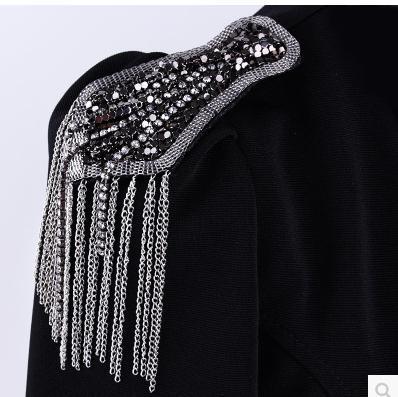Luxury Long Tassel Brooch Flower Stage Performance suit accessories popular temperament badges shoulder board shoulder mark