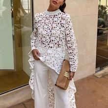 2019 Autumn Women Fashion Elegant Casual Patchwork flounced Dip Hem Top Crochet Irregular Hollow Out See Through Blouse