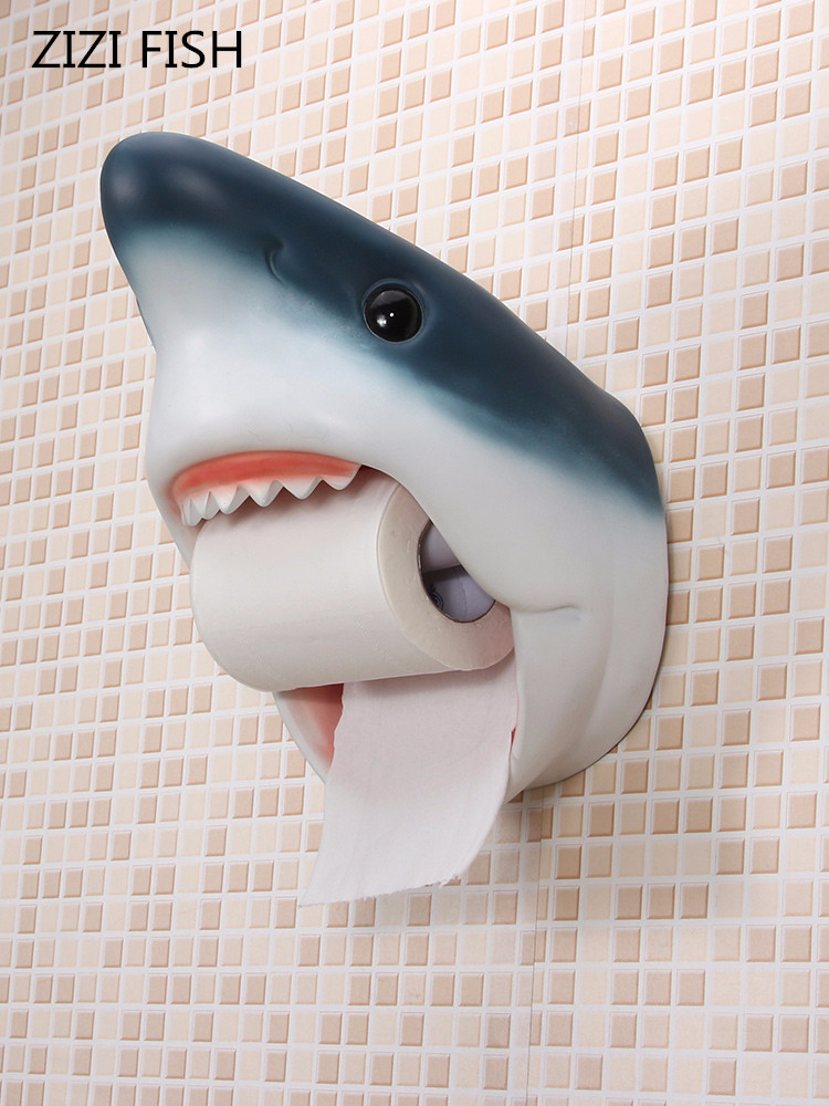 Bathroom paper towel holder Shark dolphins toilet roll holder Bathroom waterproof wall mounted creative personality tissue