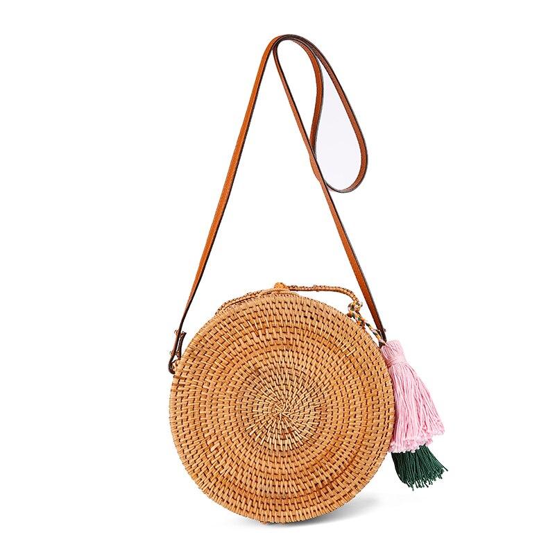 Travel tassel Beach Circle Straw Bags Handmade Rattan Straw Bag Handbag Women Leather Crossbody Shoulder Bag Knitted Messenger beige tassel detail straw shoulder bags