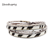 STRATHSPEY Multilayer Leather Bracelets For Women Animal Printed Vintage Bracelet Rhinestone Wristband 2019 Jewelry