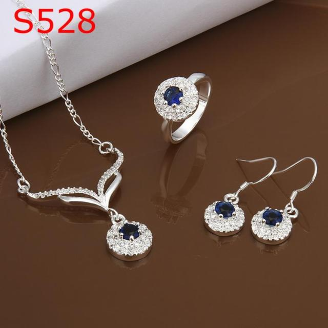 S0528 Atacado, frete grátis hot 925 set jóias de prata, jóia da forma definida Three-Piece Set Jóias