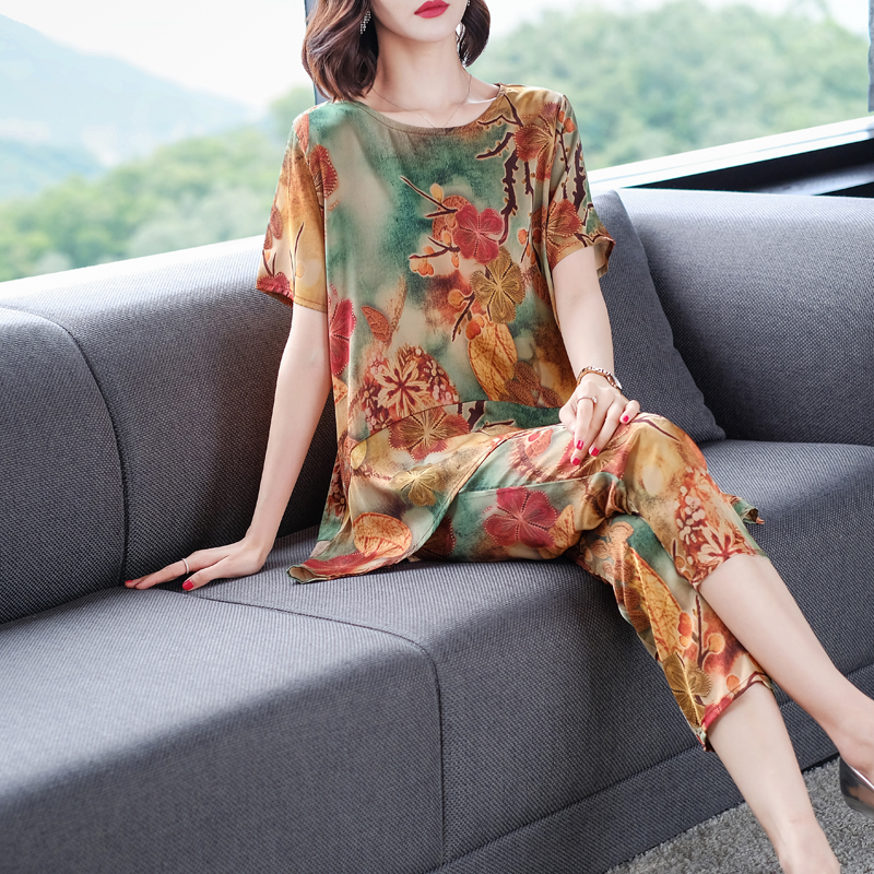 Plus Size 2 Piece Set Outfits for Women Summer Top and Pants Suits Print Floral 2019 Co ord Matching Sets Yellow Pink Clothing in Women 39 s Sets from Women 39 s Clothing