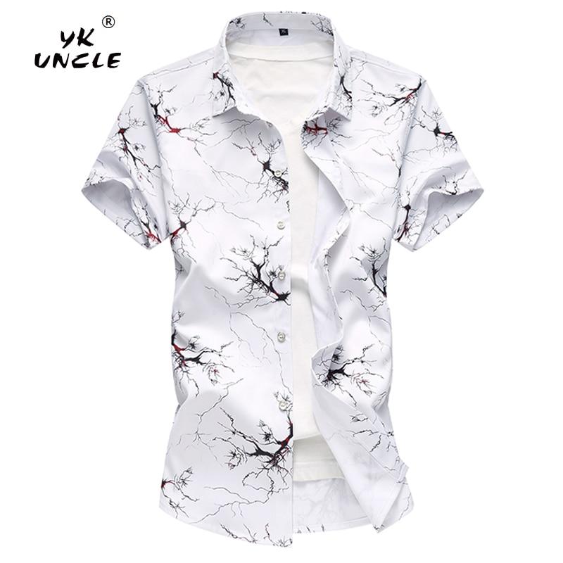 YK UNCLE Brand New Fashion Short Sleeve Hawaiian Men Shirt Summer Casual Tree Root Texture Printing Men's Shirts Plus Size M 7XL