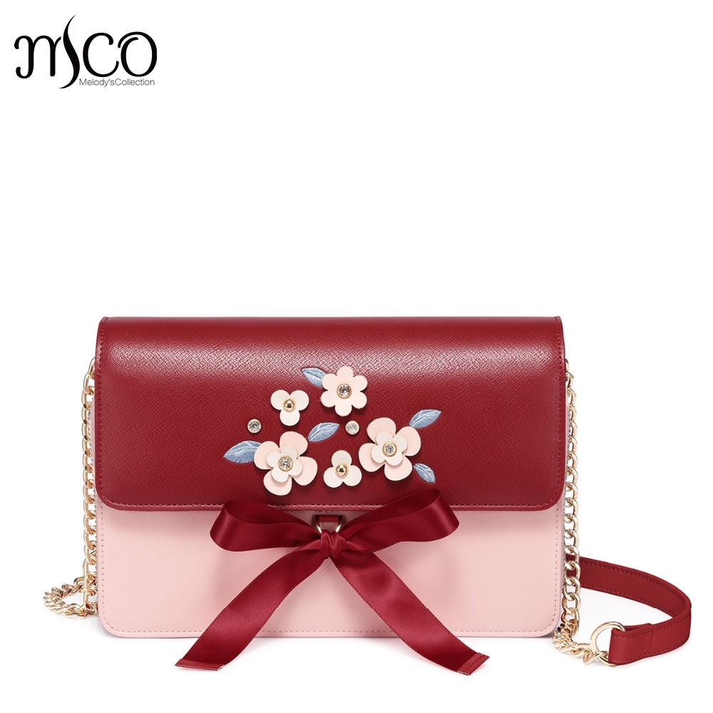 Designer luxury Women's Leather Messenger Bags Ladies Fashion Embroidery Chain Purse Female Flap Flower Bow Crossbody Bags flower embroidery flap chain bag