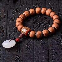 Fine Nepal Eyebrows Bodhi Bracelets Bodhi Buddha Bead White Safety Button Prayer Wood Japa Mala Lucky