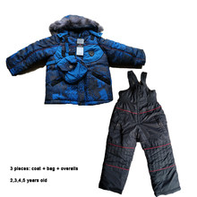Snowsuit Baby 3 pieces Boys Winter Jackets Overalls Fleece Fur Hooded Waterproof Children Ski Suit 2 3 4 5 year Kids Ski Clothes(China)
