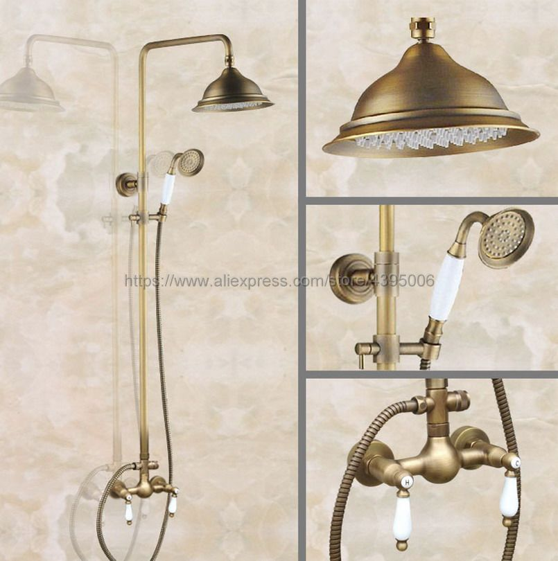 Antique Brass Bathroom Shower Faucet 8 Rainfall Shower Head Dual Handles with Hand Shower Ban116Antique Brass Bathroom Shower Faucet 8 Rainfall Shower Head Dual Handles with Hand Shower Ban116