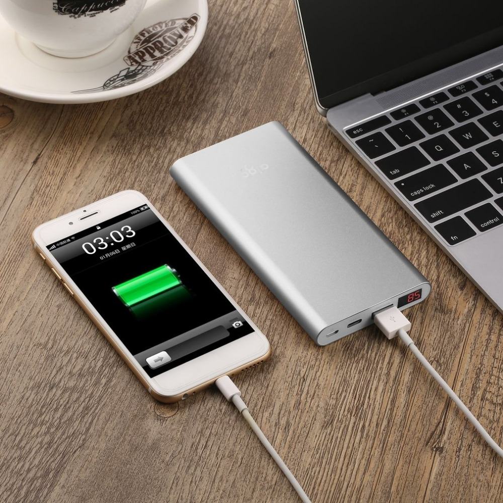AIGO N1 LCD Display 10000MAH Capacity Power Bank Charger Supply Mobile Backup Battery For Smartphones Tablet Silver