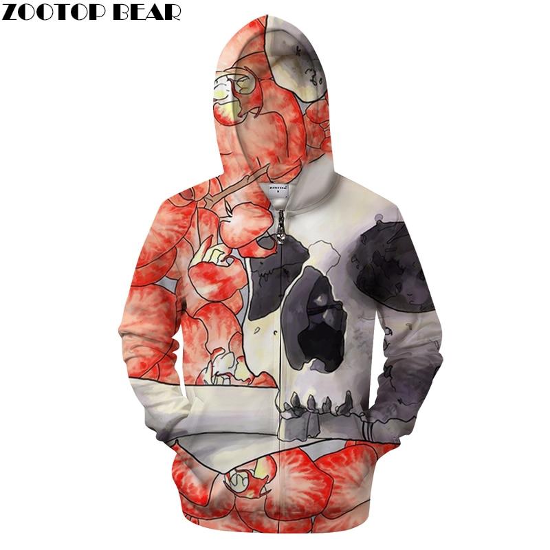 Petal&Skull 3D Print Hoodies Men Casual Sweatshirt Tracksuit Pullover Zipper Hoodie Coat DropShip Pullover Dropship ZOOTOPBEAR