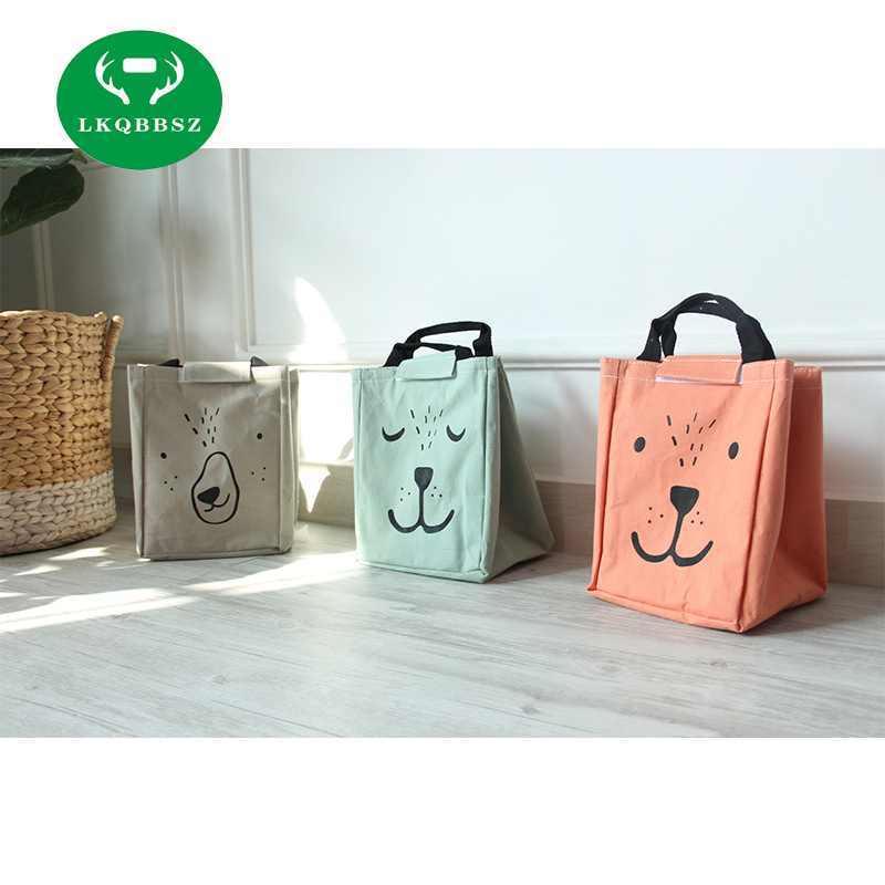Cute Animal Bear Portable Insulated Canvas Lunch Bag Thermal Food Picnic For Women Kids Men Cooler Lunch Box Bag Tote